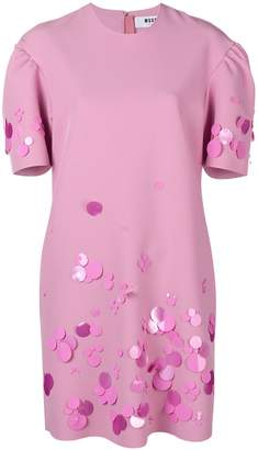 MSGM embellished puff-sleeve dress