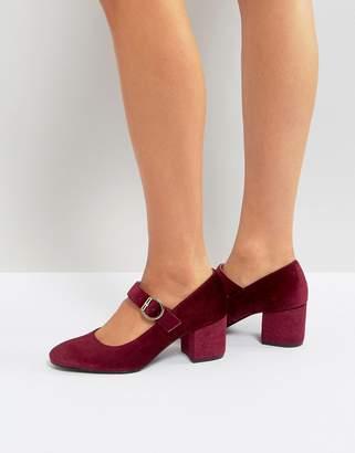 London Rebel Mid Heel Velvet Buckle Mary-Jane Shoe