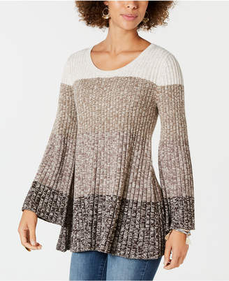 Style&Co. Style & Co Striped Bell-Sleeve Tunic