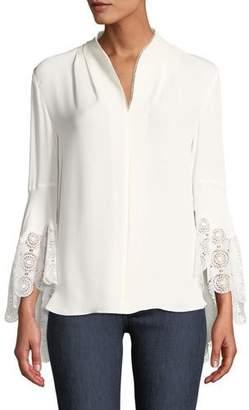 Elie Tahari Gaia Lace-Cuffs Silk Blouse