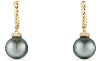 David Yurman Solari Hoop Earrings with Diamonds and Genuine Pearl
