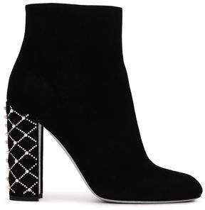 Rene Caovilla Rene' Caovilla Embellished Suede Ankle Boots