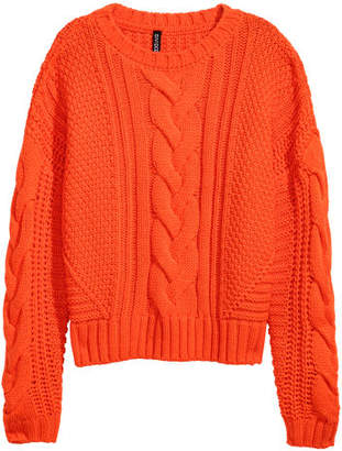 H&M Cable-knit Sweater - Orange