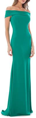 Carmen Marc Valvo Women's Off-the-Shoulder Mermaid Gown