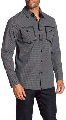 Daniel Won Checked Leather Trim Regular Fit Shirt
