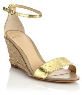 Alexandre BirmanMetallic Python Espadrille Wedge Sandals