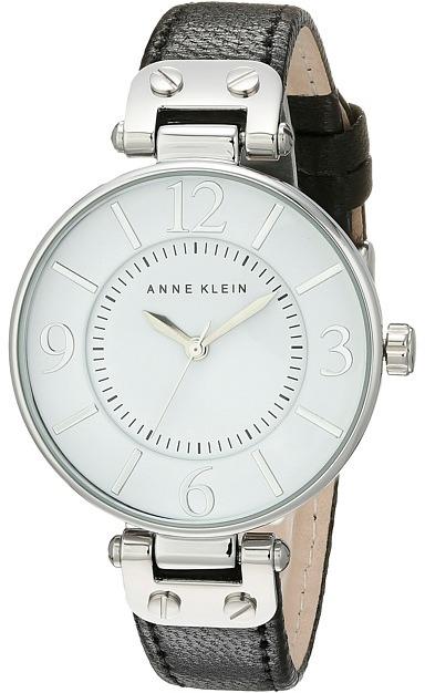 Anne KleinAnne Klein - 109169WTBK Round Dial Leather Strap Watch Analog Watches