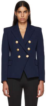 Balmain Navy Six-Button Blazer