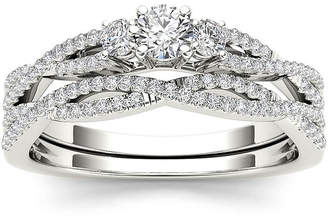 MODERN BRIDE 1/2 CT. T.W. Diamond 14K White Gold Crossover Bridal Ring Set