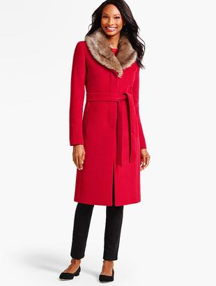 Faux-Fur Collar Belted Coat $329 thestylecure.com
