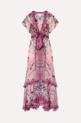 Camilla La Belle Embellished Printed Silk Crepe De Chine Maxi Dress - Claret