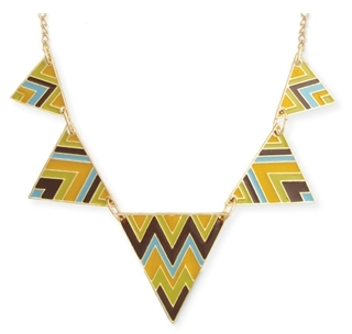 Enamel Chevron Triangle Necklace
