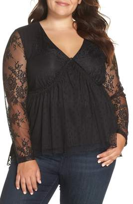 LOST INK Lace Overlay Blouse