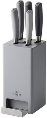 Viners Media Mono Grey 5-Piece Knife Block