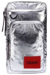HUGO Reverse-logo backpack in silver laminated-effect fabric