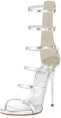 Giuseppe Zanotti Multi-Strap Metallic Leather Cage Sandal