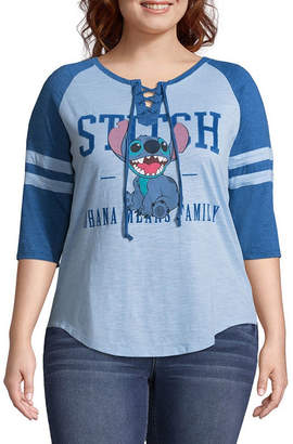 Freeze Stitch Lace Up Baseball Tee - Juniors Plus