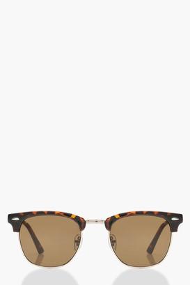 boohoo Classic Square Top Tortoiseshell Sunglasses