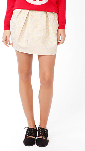 Forever 21 Metallic Brocade Skirt