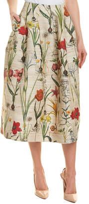 Oscar de la Renta Silk & Wool-Blend A-Line Skirt