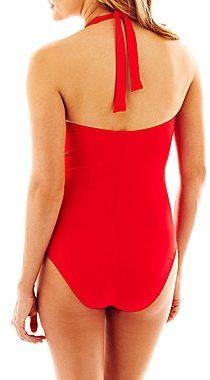 Liz Claiborne Sweetheart-Neck Halter One-Piece Swimsuit