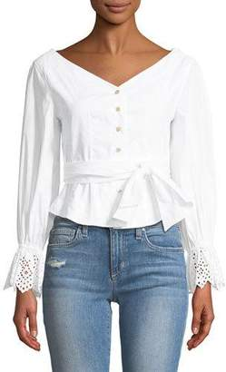 Rebecca Taylor Long-Sleeve Button-Down Eyelet Poplin Top
