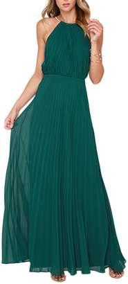 Yacun Women's Halter Sleeveless Floor-Length Pleated Party Bridesmaid Dress S