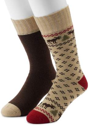 Croft & Barrow Men's 2-Pack Patterned Boot Crew Socks