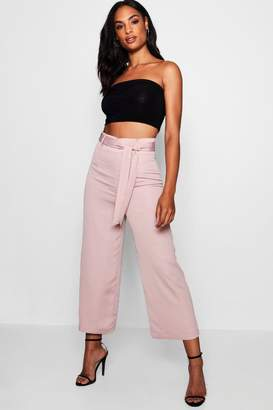 boohoo Tall Belted Satin Culottes