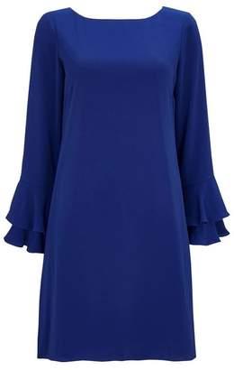 Wallis Blue Double Flute Sleeve Shift Dress