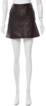 L'Agence Leather A-Line Skirt w/ Tags
