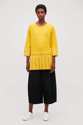 Cos WOVEN-JERSEY MIX PLEATED TOP