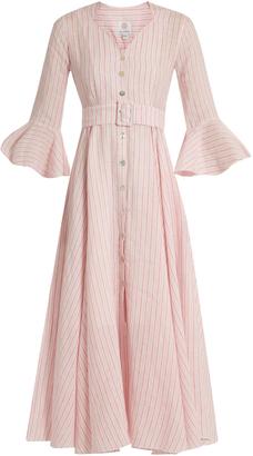 GÜL HÜRGEL Fluted-sleeve striped linen dress $669 thestylecure.com