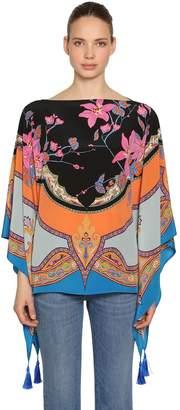 Etro Printed Silk Satin Poncho
