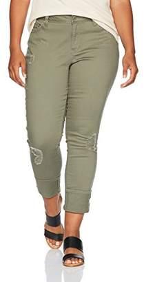 YMI Jeanswear Women's Plus-Size Juniors Plus Size Wannabettabutt Midrise Mega Cuff Skinny