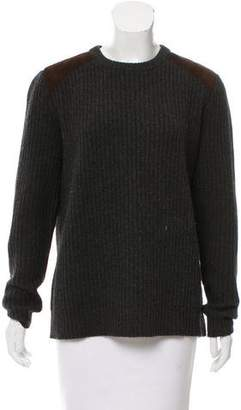 Ralph Lauren Black Label Suede-Accented Rib Knit Sweater
