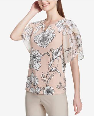 Calvin Klein Printed Flutter-Sleeve Split-Neck Blouse