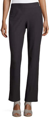 Eileen Fisher Washable Stretch-Crepe Boot-Cut Pants, Graphite, Plus Size $178 thestylecure.com