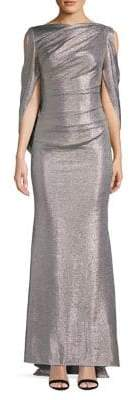 Betsy & Adam Cold Shoulder Drape Metallic Gown