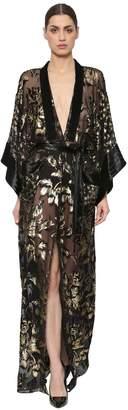 Azzaro Sheer Chiffon Fil Coupé Kimono Dress
