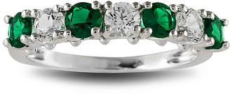 JCPenney FINE JEWELRY Lab-Created Emerald & Lab-Created White Sapphire Sterling Silver Ring