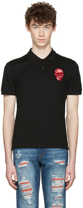 Alexander McQueen Black Embroidered Skull Polo $365 thestylecure.com