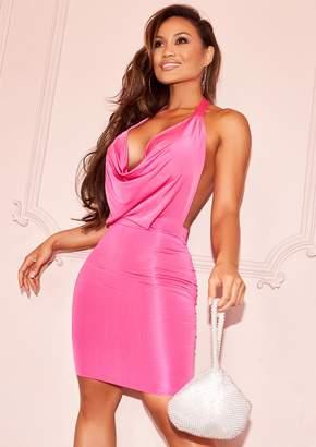 b7f82f4e3d Missy Empire Missyempire Sasha Hot Pink Slinky Halterneck Mini Bodycon Dress