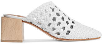 LOQ Ines Woven Leather Mules - White
