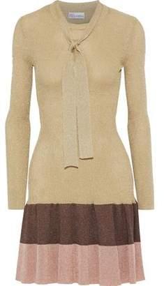 RED Valentino Color-block Metallic Ribbed-knit Mini Dress