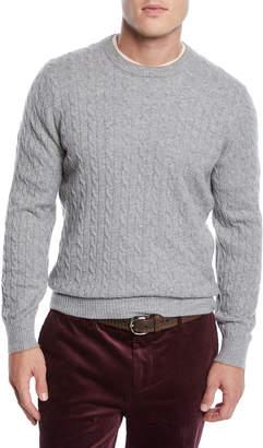 Brunello Cucinelli Men's Cashmere Cable-Knit Crewneck Sweater