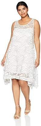 Robbie Bee Plus Size Womens Sleeveless lace Trapeze Dress
