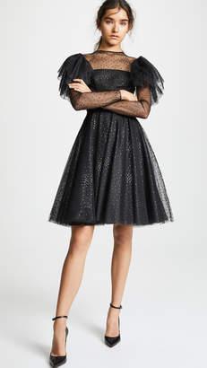 Costarellos Flutter Sleeve Midi Dress