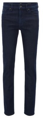 BOSS Slim-fit jeans in washed indigo stretch denim