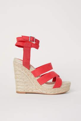 H&M Wedge-heel Platform Sandals - Red